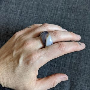 Large thick carved stone ring